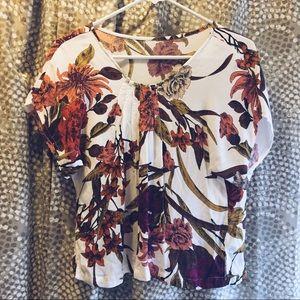 vintage floral short sleeve flowy blouse